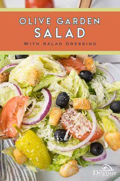 Easy Appetizer Recipes, Easy Salads, Healthy Salad Recipes, Appetizers, Healthy Dishes, Healthy Cooking, Olive Garden Salad, Delicious Restaurant, Restaurant Recipes