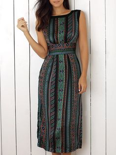 Sleeveless Print Slit Dress (GREEN,M) | Sammydress.com