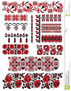 Folk Embroidery Patterns Ukrainian embroidery pack by Boordon, via Dreamstime - Hungarian Embroidery, Folk Embroidery, Learn Embroidery, Cross Stitch Embroidery, Embroidery Patterns, Cross Stitch Borders, Cross Stitching, Cross Stitch Patterns, Bordado Popular