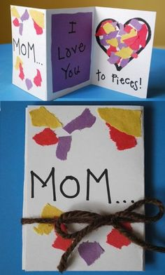 Mother's Day Pieces Card So easy, kids will love gluing pieces of colorful papers just within the heart. Kids Crafts, Diy Mother's Day Crafts, Mothers Day Crafts For Kids, Mother's Day Diy, Mothers Day Cards, Toddler Crafts, Preschool Crafts, Crafts To Make, Class Art Projects