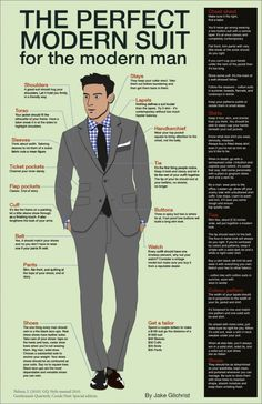 Whether it's a job interview guide or a daily checklist, this is important! Especially tie length, buttoning, and shoes. Modern Suits, Modern Man, Modern Tailor, Sharp Dressed Man, Well Dressed Men, Aldo Conti, Suit Guide, Fashion Infographic, Style Masculin