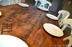 Great idea to personalize your wood dining room/kitchen/coffee table with a one-of-a-kind stencil.