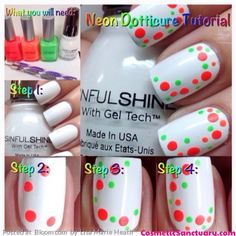 """Solid white nails with a """"how to"""" or picture tutorial for summer bright, neon, multi-color, polka  dots, easy to do, free hand nail art"""