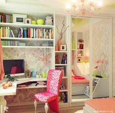 Awesome Corner Of Girls Room Idea With White Bookshelves And Study Desk And Fancy Chandelier Also Pretty Pink Floral Chair Pattern And Wonderful Gray White Floral Wallpaper And Laminate Floor: Pretty Girls Room Design Ideas For Your Inspiration