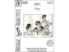 1930's Hats 22.5/23 57/58 cm PDF sewing pattern | Etsy