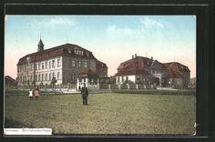 old postcard: AK Komotau / Chomutov, Blick zum Bezirkskrankenhaus