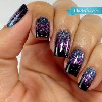 """Black Gel Polish with a Glitter Gradient. In the pic: DIY Hard Nails - """"Black Cat"""""""