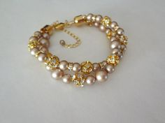 Pearl bracelet  Gold  Chunky  Twisted  by QueenMeJewelryLLC