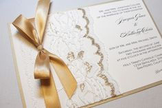 pictures of gold and ivory wedding invitations | Gilded-wedding-invitations-etsy-weddings-stationery-lace-gold-ribbon ...