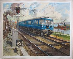 """Glasgow Electric - Blue Train - Untitled Version. The new """"Blue Trains"""" started work on Glasgow suburban services in 1960, and were a breath of fresh air at the time, with wide windows and curved front windows to look out past the driver. One is shown here alongside the River Clyde near Helensburgh, and is shown with a smokey dirty steam locomotive to the left, and a slow moving tug on the river to the right, highlighting its fast modernity. Sold by originalrailwayposters.co.uk"""