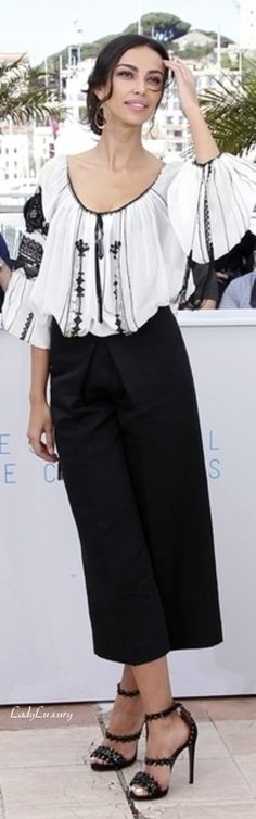 Mădălina Ghenea in traditional romanian blouse at The Cannes Film Festival 2015