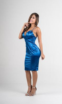 Exude your inner goddess this season in our favorite shining blue dress. V neckline CrissCross back Double Straps Sleeveless Stretchy Fabric: Poly - Spandex Tight Blue Dress, Blue Satin Dress, Silky Dress, Blue Midi Dress, Tight Dresses, Satin Dresses, Sexy Dresses, Satin Skirt, Silk Satin