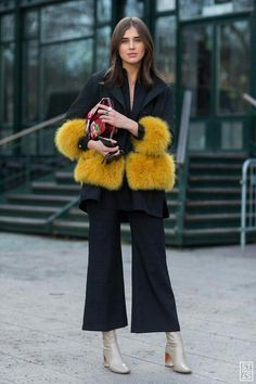power suit / street style / fashion / faux fur / trending / pants suit