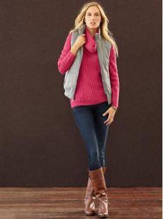 Banana Republic...skinny jeans, boots and a fuscia sweater! Perfect color and outfit for the cold Chicago winters!