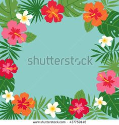 Hibiscus and palm leaf border frame vector for card design template.