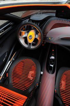 Renault Captur Concept Interior Steering wheel yellow dynamic orange driver seat gear box black. those seats though!