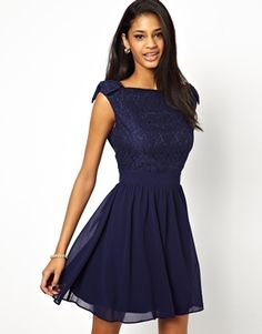 Image 1 ofLittle Mistress Prom Dress with Lace Bardot Top