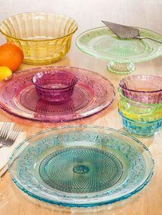 Pressed-Patterned Glass Dinnerware In Spring-Like Pastels