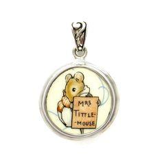 Broken_China_Jewelry Beatrix Potter Mrs. Tittle Mouse B Sterling Pendant