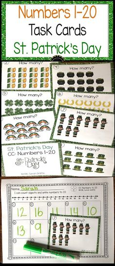Get your students engaged in math with these St. Patricks's day math task cards and centers. Kindergarten Math Games, Math Activities, Teaching Math, Teaching Ideas, Poetry For Kids, Common Core Math Standards, Math Tools, Math Task Cards, First Grade Math