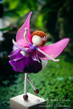Violet Princess Miniature, Pink fairy, Pink Angel Ornament, Flower Petal Doll, No face doll, Flower Princess Doll