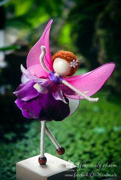 Violet Princess Miniature, Pink fairy, Pink Angel Ornament, Flower Petal Doll, No face doll, Flower Princess Doll