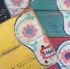 Sugar Skull Art sur piquet régénéré clôtures bois par ACleverSpark