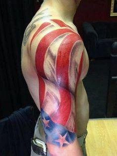 duża flaga amerykańska tatuaż na ramieniu #tattoo #usa #tattoousa #flag