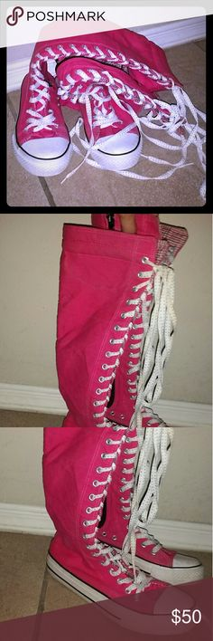 Pink Converse lace up boot with zipper Like new excellent condition pink lace up Converse shoes. Has zipper on the inside of shoe for easy on and off.  Size 7, 7.5. I normally wear a size 8 in other shoes and these fit me perfect. Converse Shoes Lace Up Boots