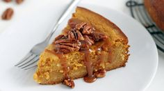 Rich in fall's favorite flavor (pumpkin), this over-the-top pumpkin butter cake is finished with caramel sauce and candied pecans, making it nothing less than irresistible. Worried about it being too (Butter Substitute For Frosting) Fall Desserts, Just Desserts, Delicious Desserts, Yummy Food, Cheese Pumpkin, Pumpkin Butter, Butter Pecan, Sweet Recipes, Cake Recipes