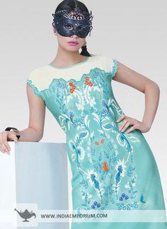 Turquoise Dazzling Moss Georgette Kurti #Kurti #Cutsleeves #Printed #Summertrend #OOTD #OutfitOfTheSummer  #Indiaemporium