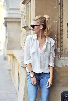 Denim, white, high ponytail.