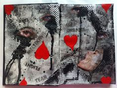 One of my first ever completed pages. A little dark but I love the red hearts as they pop off the page. I call it 'confusion' Medium Blog, Red Hearts, Art Journal Pages, Journalling, Confusion, Mixed Media Art, My Arts, Pop, My Love