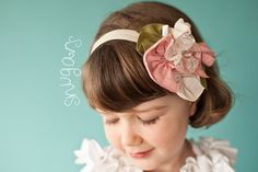 Vintage lace in blush headband hair band girls toddler by snugars, $32.00