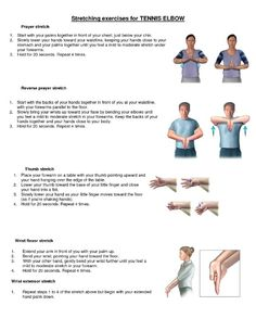 Pain in your elbow in and out of the day? You may have tennis elbow in your joint which is from inflammation. Learn more about tennis elbow and how to treat it here! Tennis Elbow Stretches, Stretching Exercises, Golfers Elbow Exercises, Tennis Workout, Workout Belt, Workout Abs, Workout Exercises, Fitness Exercises, Workout Fitness