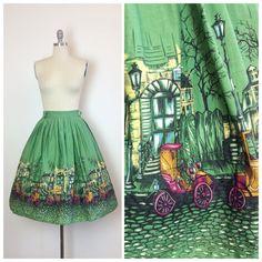 50s Millworth Street Scene Skirt / 1950s by CheshireVintageShop