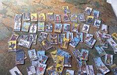 A Full set Of Tarot Cards, Handmade Tarot Cards, Backs and Fronts Complete, Miniature Tarot Cards, an Unusual Dolls House Accessory, Great for Wizard and Witches diaramas, Harry Potter Miniatures Collections, Tarot Collectors, Miniature Collections.  A Set of 72 Full Colour Tarot Cards, With Gold and Black Backs.  Thank you for your time. | Shop this product here: http://spreesy.com/SpryHandcrafted/256 | Shop all of our products at http://spreesy.com/SpryHandcrafted    | Pinterest selling…