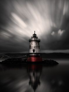 Little Lighthouse by Edward Reese - This is a long exposure image of the little lighthouse near the Tappan Zee Bridge outside of Tarrytown, New York...