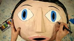 Want to be with Frank? Here's all you need to create your own papier mâché head. You will need: An inflatable gym ball Cling film For the papier mache: glue,. Paper Mache Head, Paper Mache Mask, Paper Mache Sculpture, Mascara Papel Mache, Holidays Halloween, Halloween 2015, Art Club, Diy Craft Projects, Mask For Kids