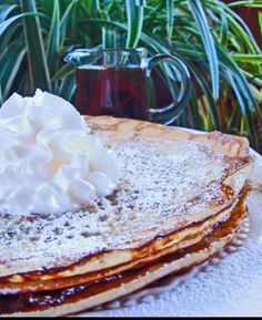 """Pannkakor - Real Swedish Pancakes: """"This is how we make them here in Sweden. My mother always does them this way, and in every other Swedish family I have visited. The other recipes I have seen here have little resemblance with the original. Swedish Pancakes, Pancakes And Waffles, Pancakes Easy, French Pancakes, Swedish Cookies, Chocolate Pancakes, What's For Breakfast, Breakfast Recipes, Crepe Sale"""