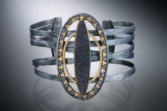 Cuff bracelet; 22k, 18k, oxidized sterling and fine silvers, black druzy quartz