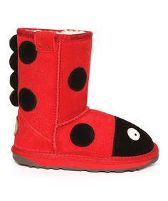 Look what I found on #zulily! Red & Black Suede Little Creatures Ladybird Boot - Kids #zulilyfinds