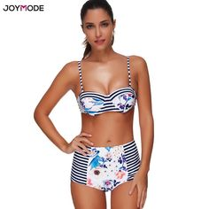 fc17b8f29623f JOYMODE Vintage Bikinis 2018 Mujer High Waist Swimwear Push Up Bra Striped  Print Women Underwire Brazilian Swimsuit Plus Size