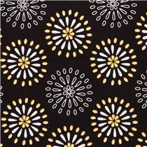 black flower ornament fabric by Robert Kaufman USA - Flower Fabric - Fabric