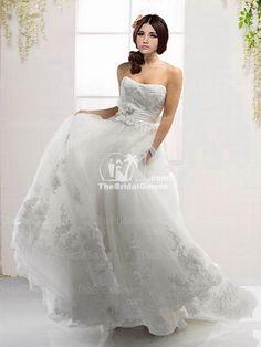 Organza Ivory Lace Princess Wedding Dress [rmn265] - $152.19 :