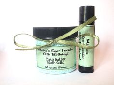 SPA PARTY FAVORS Green Personalized Bath Salt and Lip Balm by MajesticSoaps, $3.99