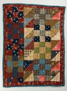Nine-patch variation crib quilt, 1900.