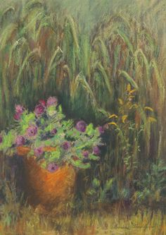 Pastel drawing, Green Grasses, by artist/instructor Laverne Bohlin.