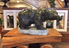 """'Along the Path of the Grizzly' 23"""" x 36"""" x 34"""" Serpentine Stone Carving, Artist Cathy Jenkins"""