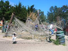 Climbing nets in the Adventure Playground, Berkeley, California.